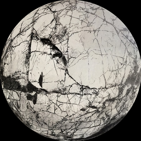 "Cai Xiaosong, ""Planet"", 2009, Ink on silk, 100x100cm"